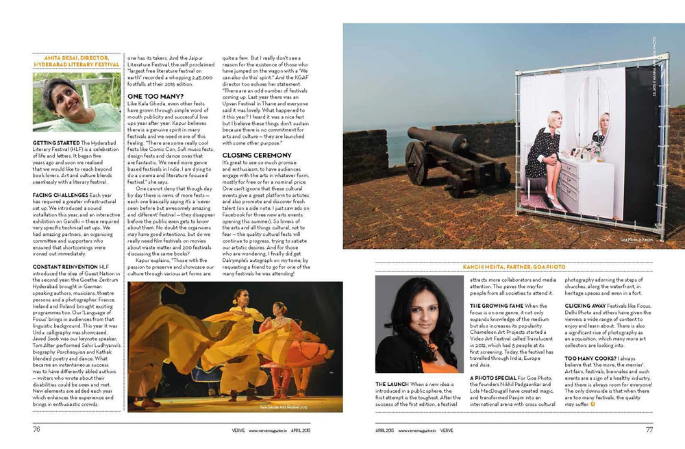Goa Photo, Verve Magazine, April 2015