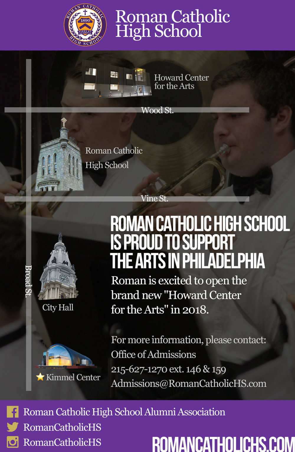 This advertisement was created to promote the upcoming Howard Center for the Arts. It is featured in the Summer 2017 Kimmel Center Showcase Booklet.