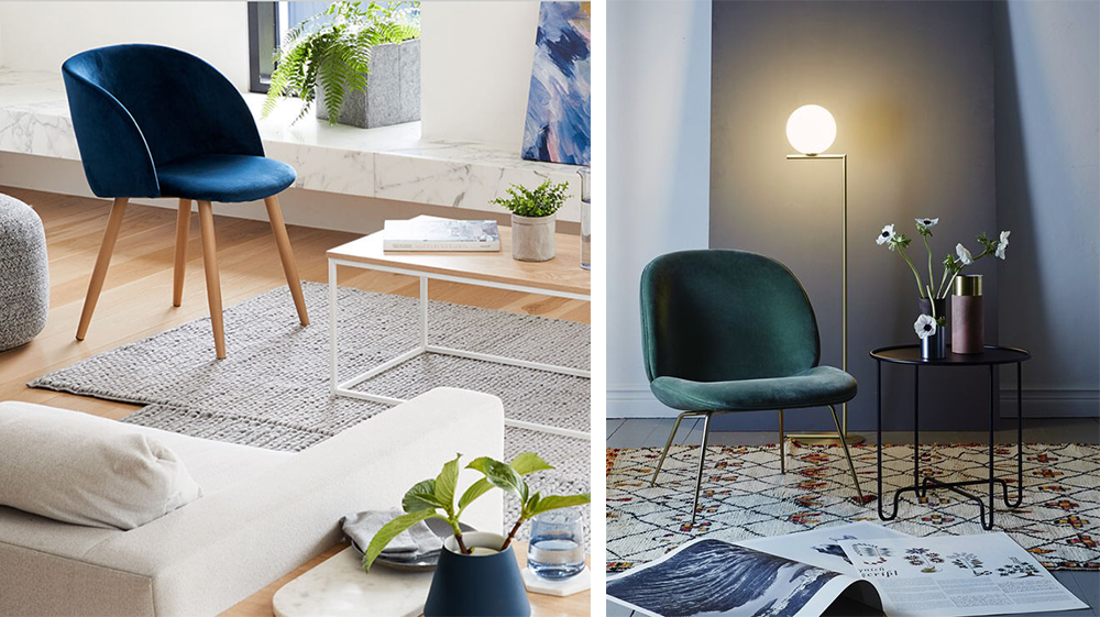 Pictured left the Kmart Velvet Chair. Right the Beetle Chair by GamFratesi