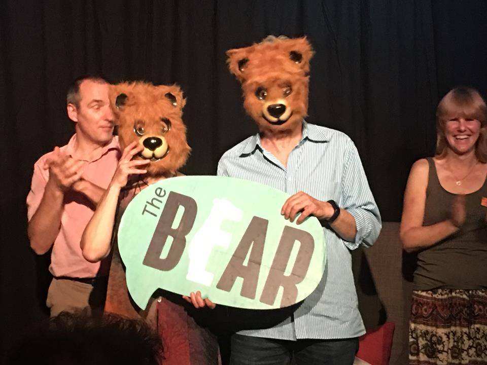 Eve of the Champs on July 21, 2017: closed with a bang! Dyane Neiman and Frank Spandl, founders of The Bear taking a bow.