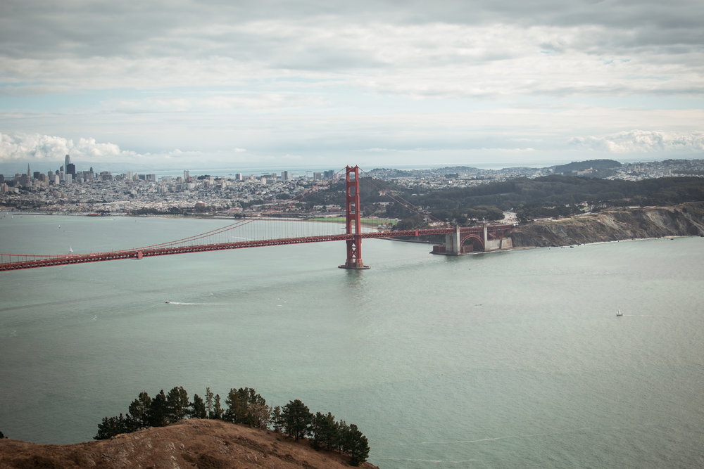 View of the Golden Gate Bridge from the Marin Headlands- there are a few different view points, each of them has a beautiful overlook of the City!
