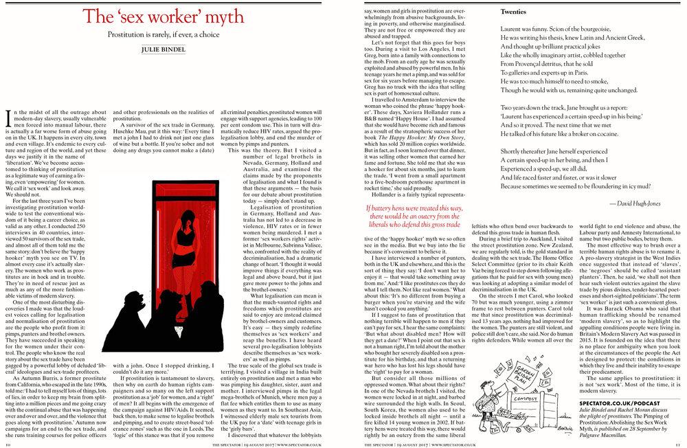 Julie Bindel Sex Worker Myth The Spectator