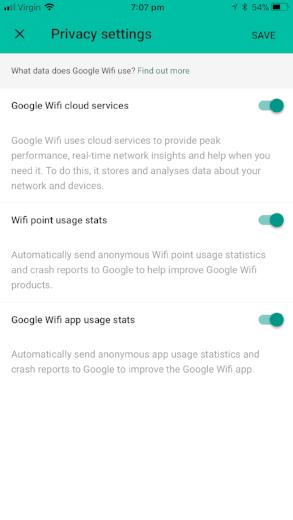 Google WiFi Privacy Options