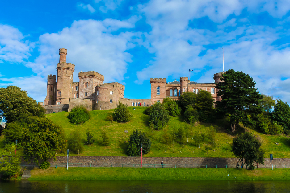 Inverness Castle on the River Ness, Scotland.