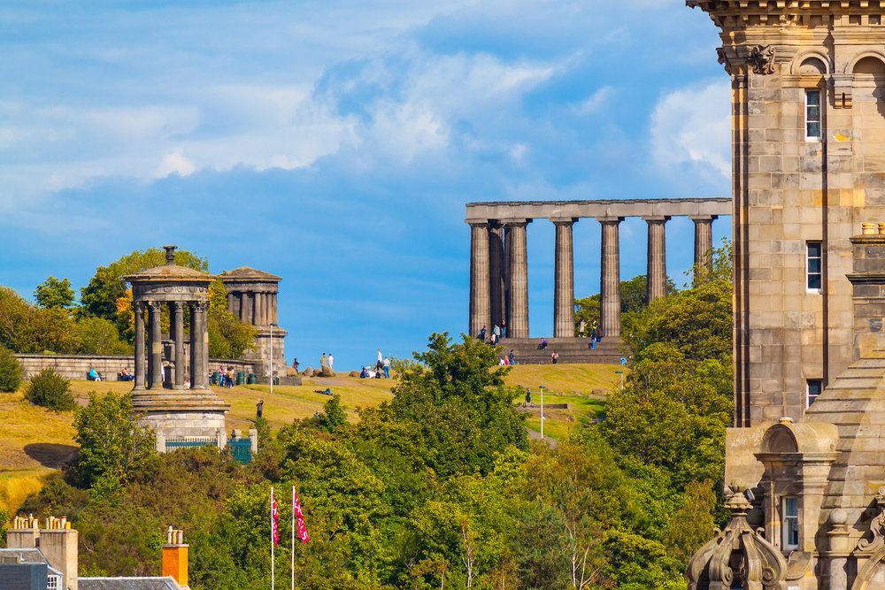 The Edinburgh Photography Tour. Calton Hill, Dugald Stewart Monument, City Observatory, the National Monument and The Balmoral, Edinburgh, Scotland.jpg