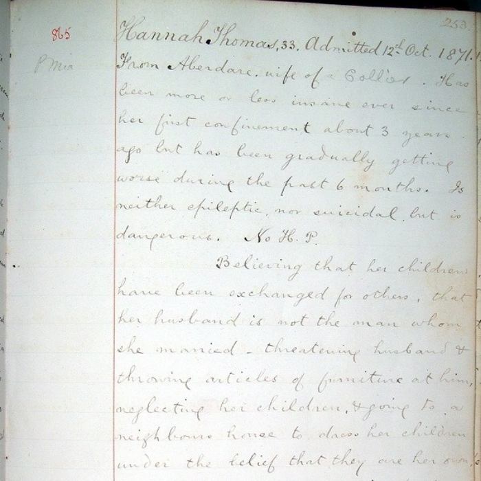 Hannah's medical records from the asylum