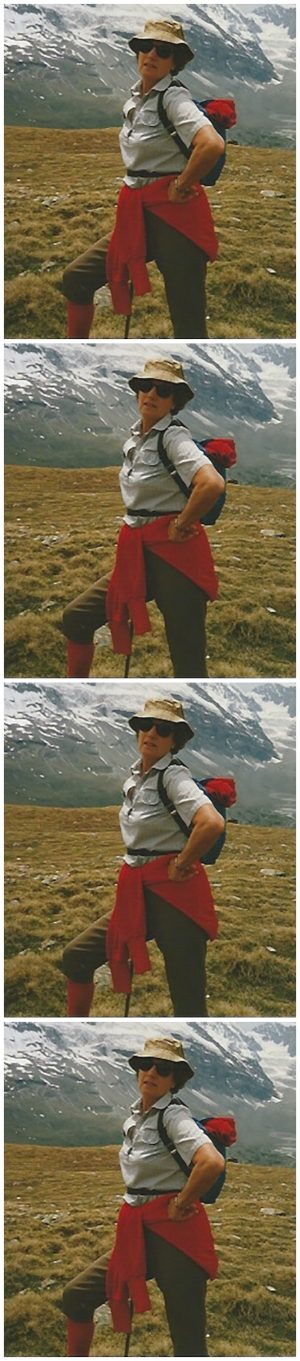 Photo of Diana taken on The Matterhorn in June 1989.  She wrote on the back, 'Exhausted. Walked and climbed to heights'