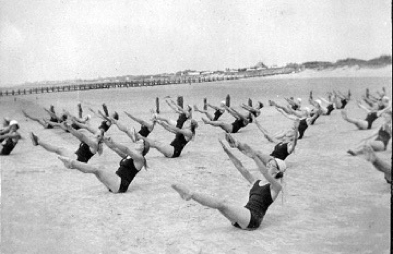 Gymnasts: Mum organised summer camp for PE students in the summer of 1934 at Middleton-on-Sea.