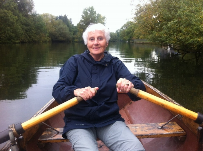 Mum, Helen, 2014 on the river at Stratford-upon-Avon. She was a great rower, even with lung cancer! I took her out on this boat for a birthday present and she put me to shame...