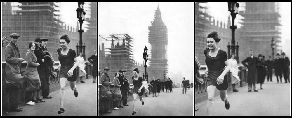 Florence, 1934, sprinting across Westminster Bridge, London