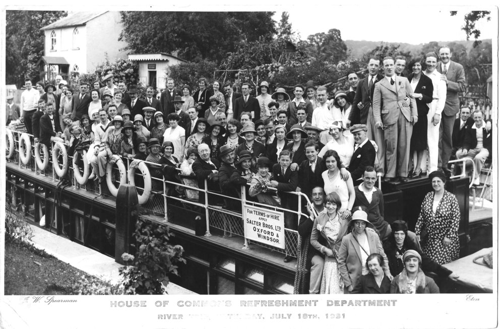 Florence (white sleeveless dress, towards bottom right) and colleagues on a work trip, 1931