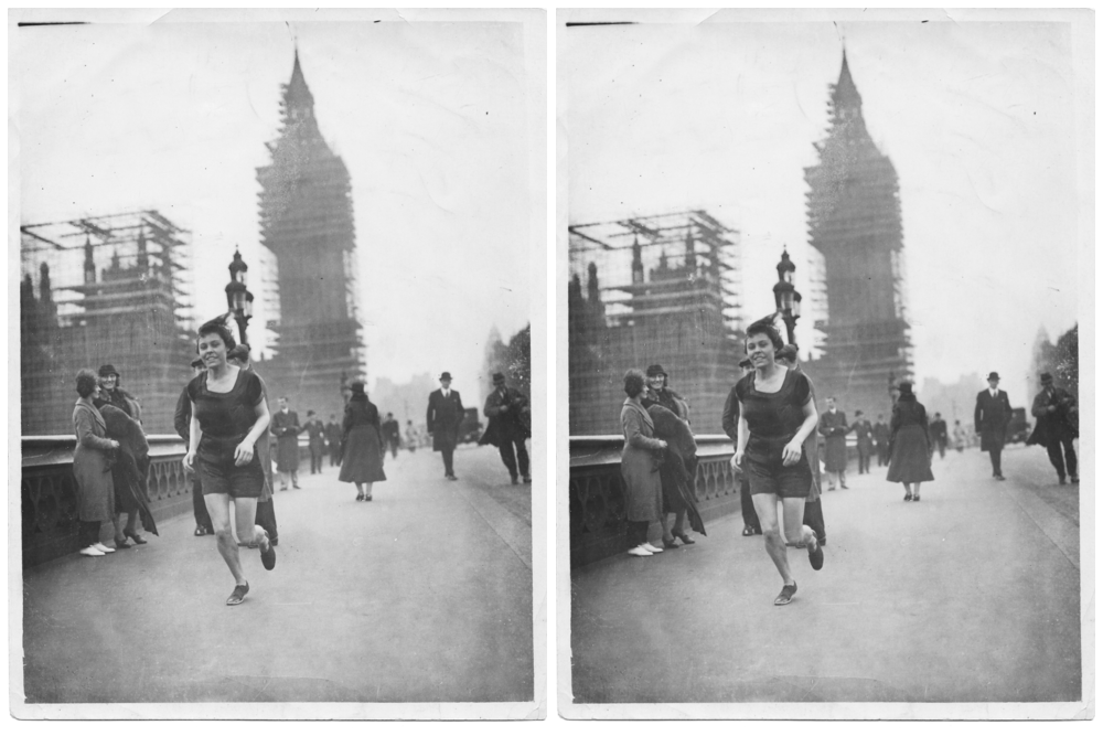 Florence sprinting against the clock, 1934, London