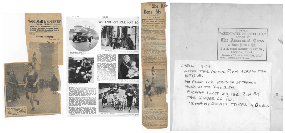 Some of the cuttings and pictures published at the time of Florence's sprint