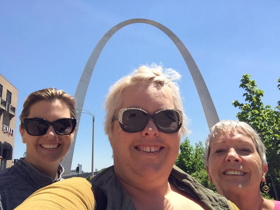 St. Louis, MO Arch with my mom and sister...