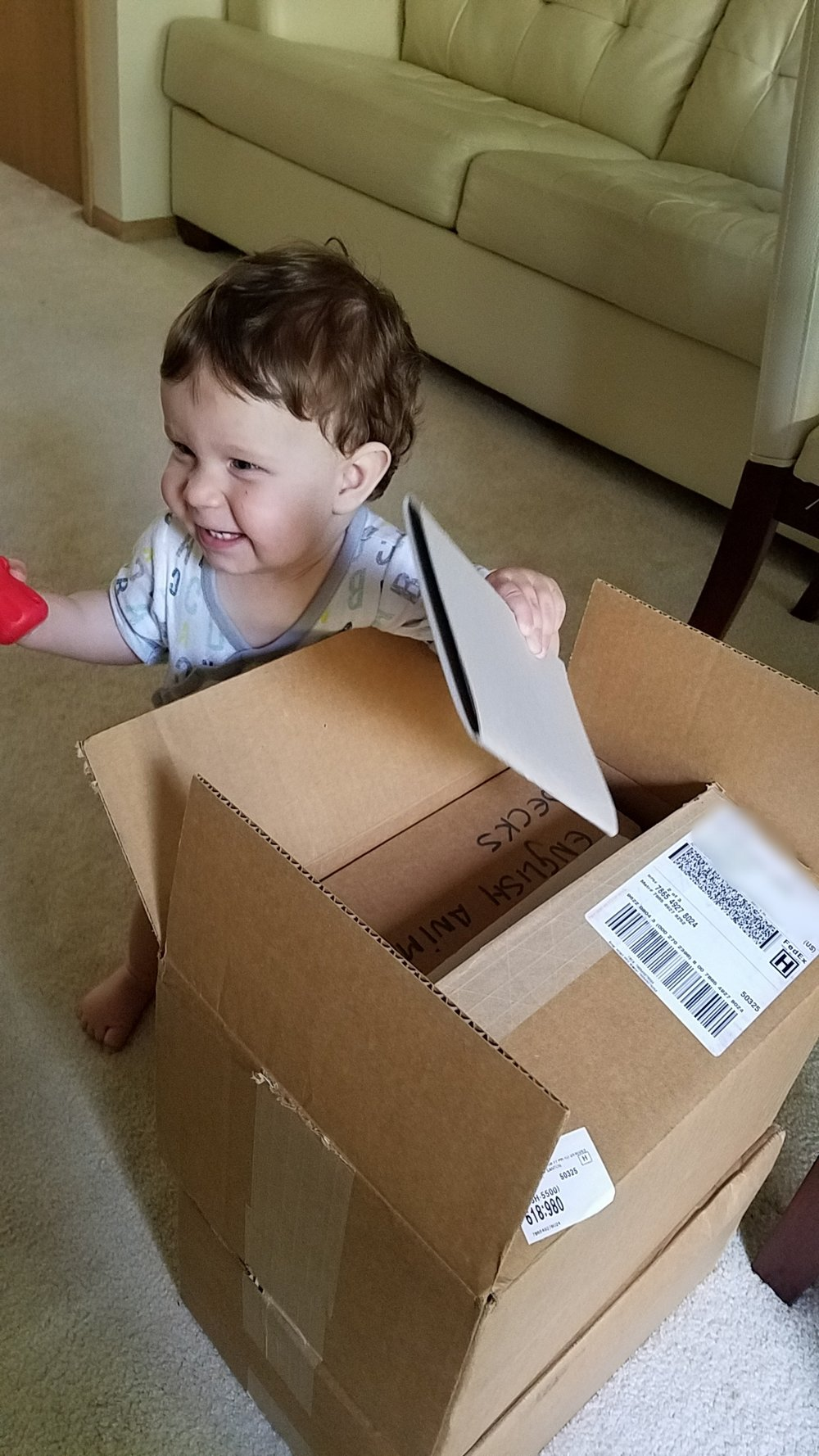 Our son opening our very first shipment of Linguacious™ flashcards!