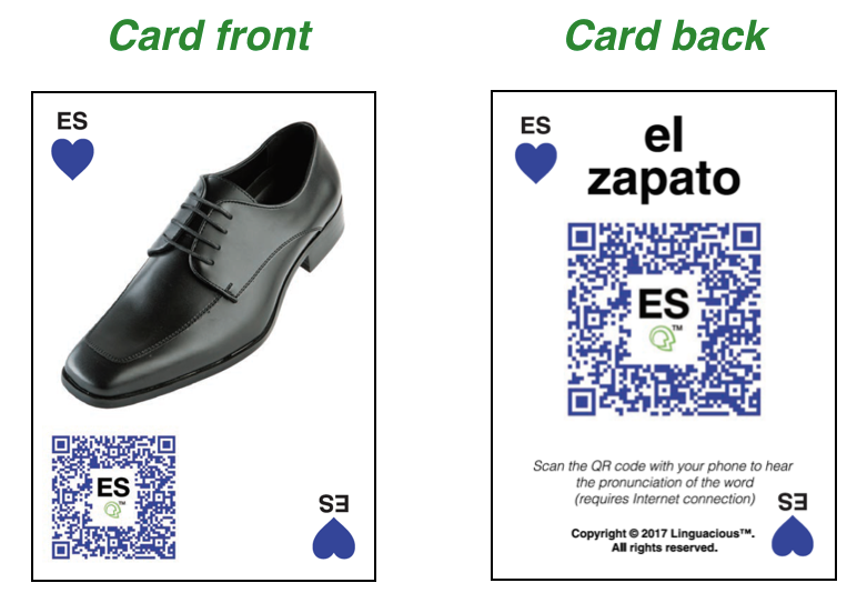 "Photo: Example of a Linguacious™ flashcard in Spanish for the word ""shoe"" allowing learners to independently practice all four communicative skills."