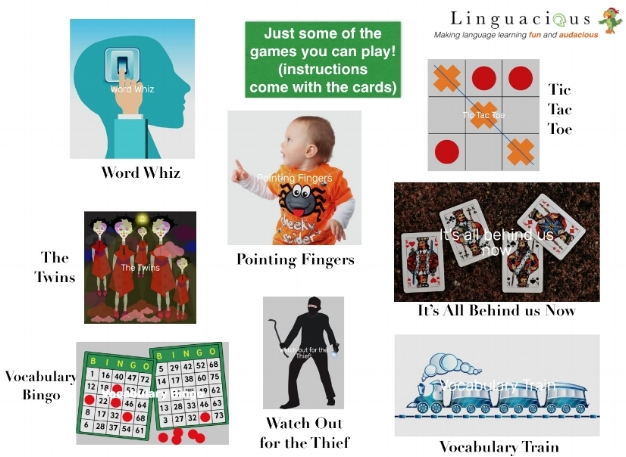 Photo: Examples of the games that learners can play with the Linguacious™ vocabulary cards (full instructions can be found on  their website ).