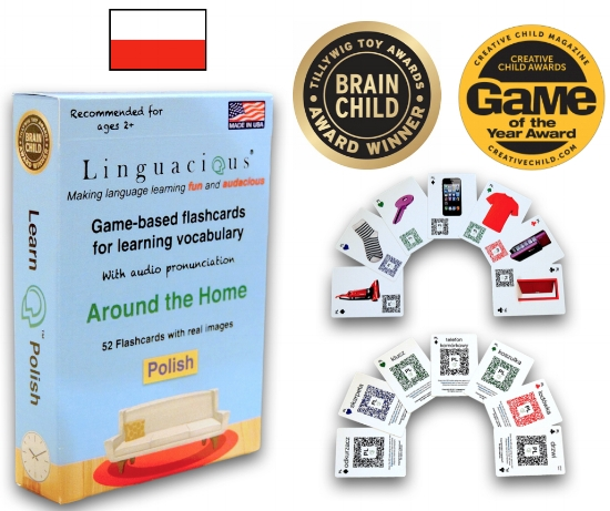 Linguacious® Polish Around the Home vocabulary flashcard game