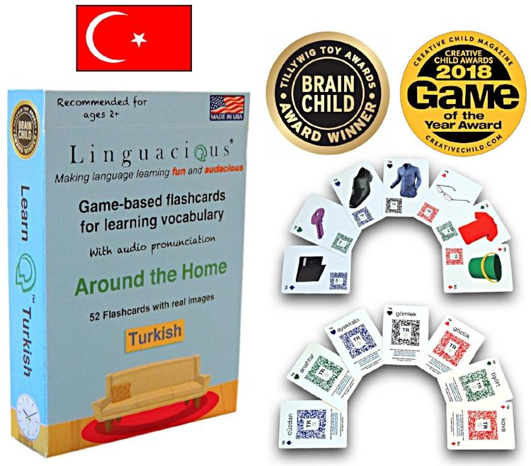 Linguacious® Turkish - Around the Home vocabulary flashcard game