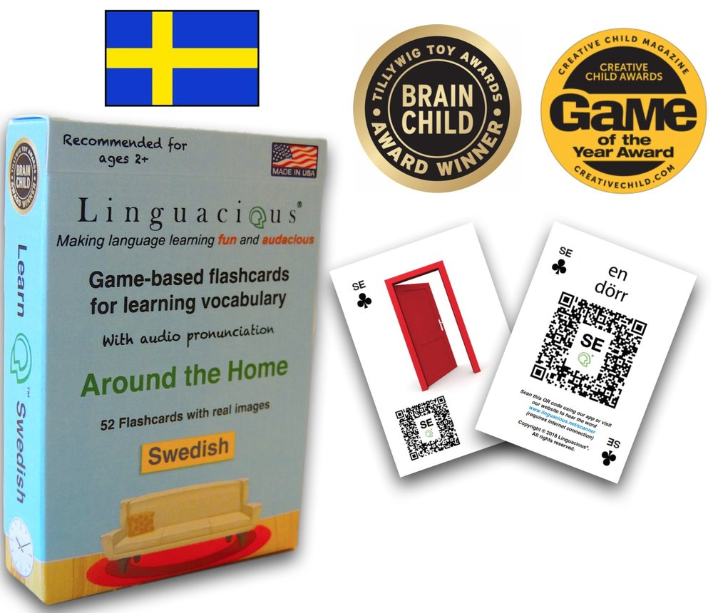 The award-winning  Learn Swedish - Around the Home flashcard game by Linguacious®