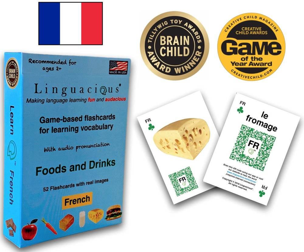 The Award-winning Linguacious® Learn French -Foods and Drinks vocabulary flashcard game