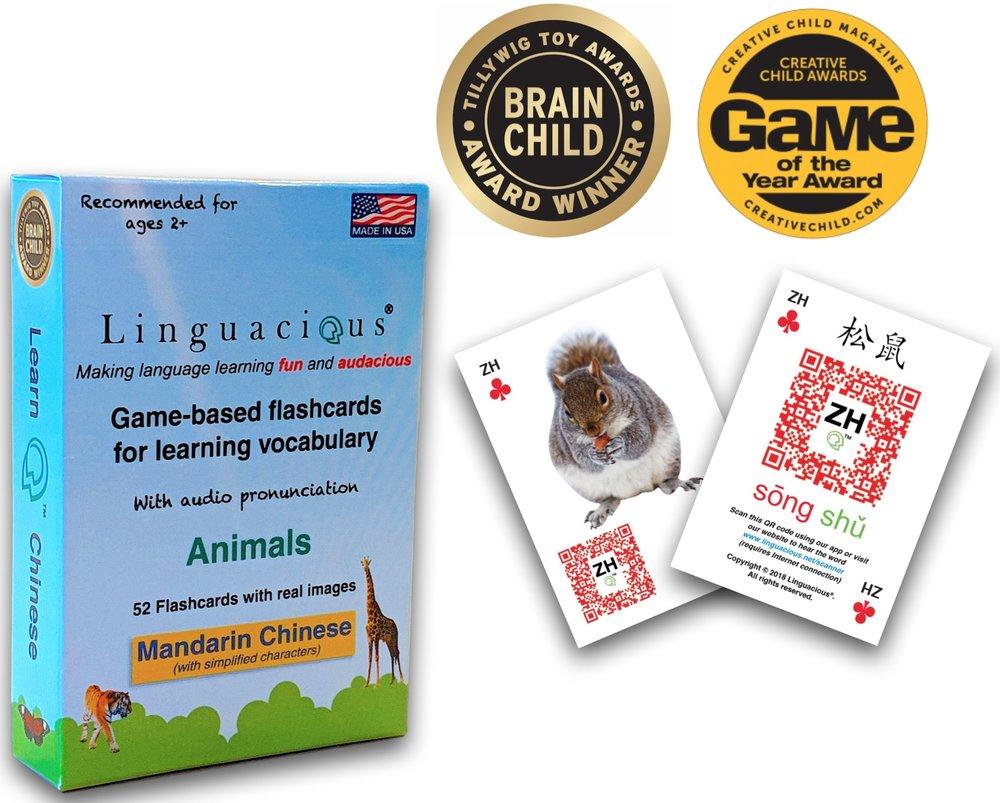 The award-winning  Linguacious® Learn Mandarin Chinese - Animals vocabulary flashcard game .