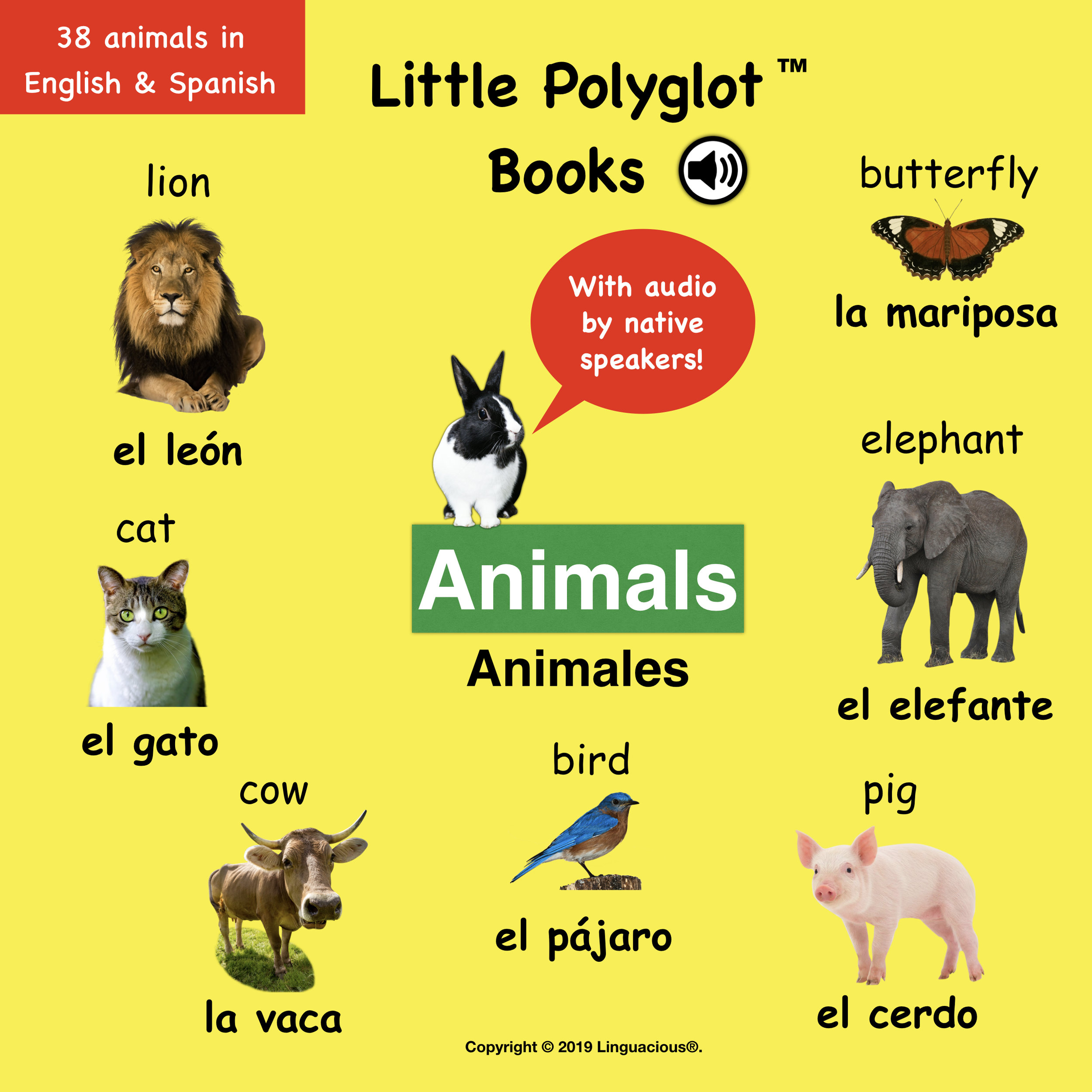 Little Polyglot Books Animals Bilingual Spanish English Vocabulary Picture Book With Audio Linguacious