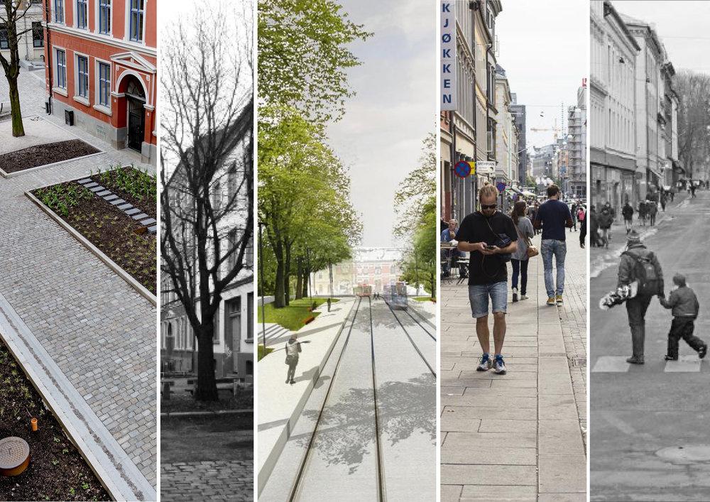 Illustrasjon av fremtidige Storgata. SWECO Norge AS