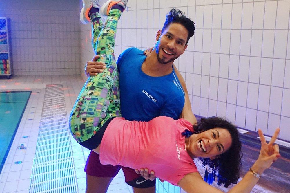 Paulo og Carla leverte tidenes råeste vann-aerobic!