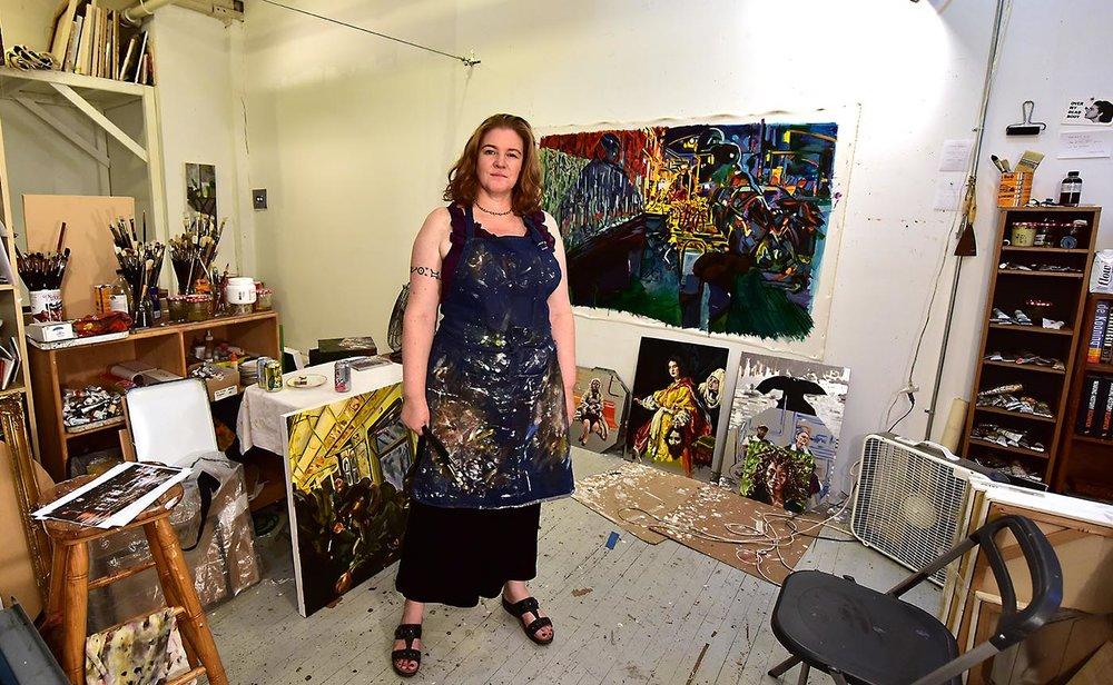 photo of Sharilyn Neidhardt in Brooklyn Fireproof studio in August 2018 by   Alyssa Hargrove