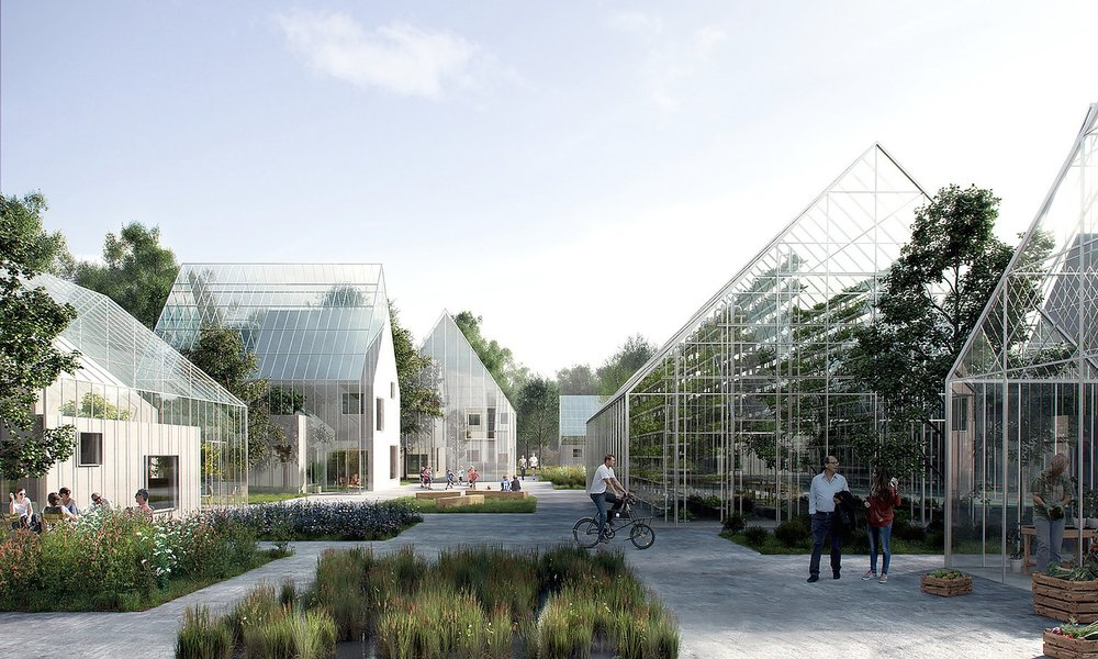 A partial rendering of  ReGen Village , including glass greenhouses where food will grow year-round.