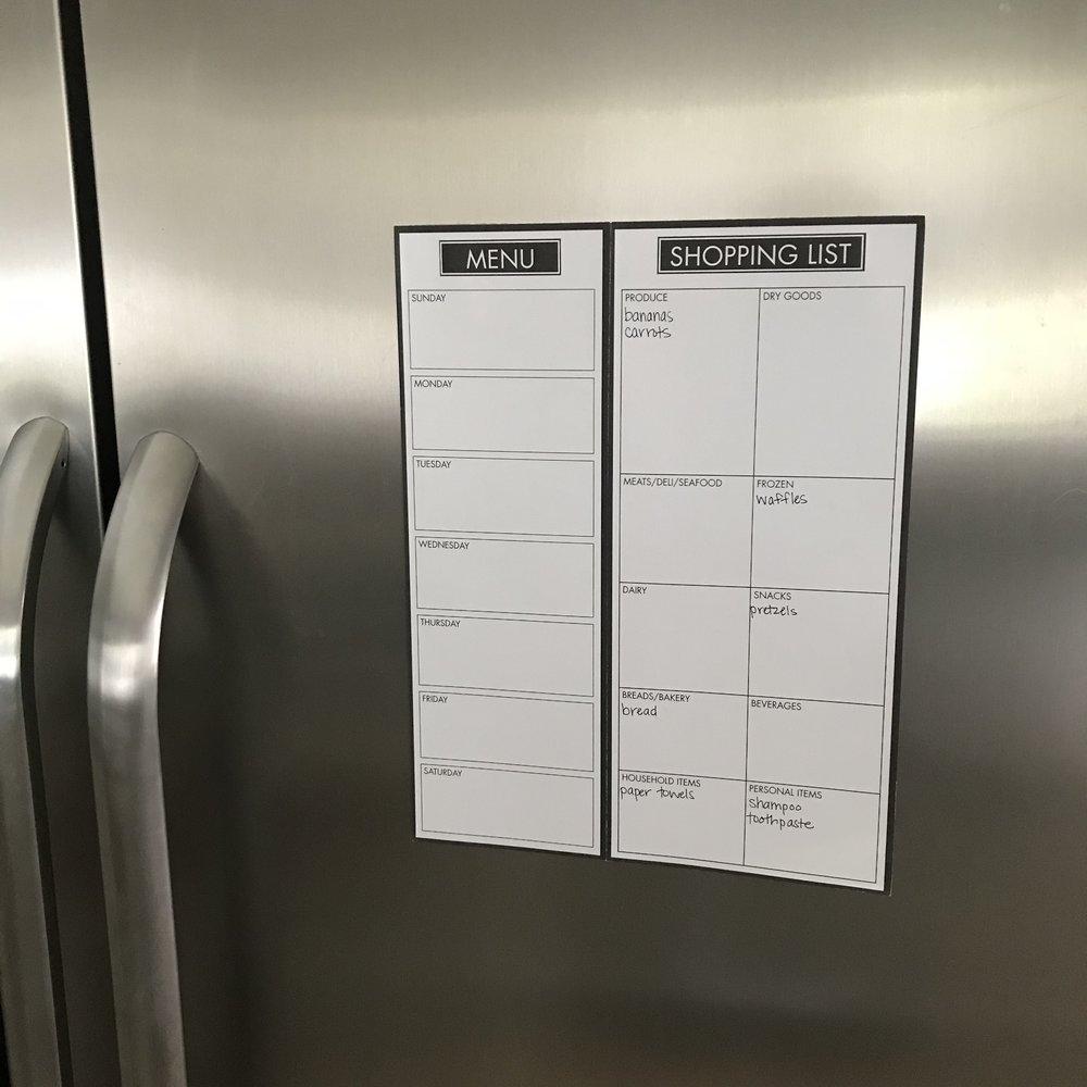 Detailed Meal Planner - Fridge Running List
