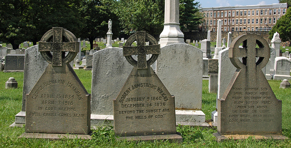 A trio of gravestones in Baltimore's Green Mount Cemetery