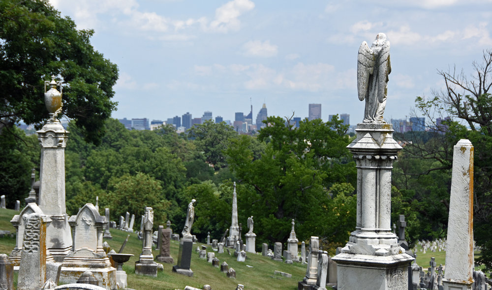The Baltimore skyline as seen from New Cathedral Cemetery