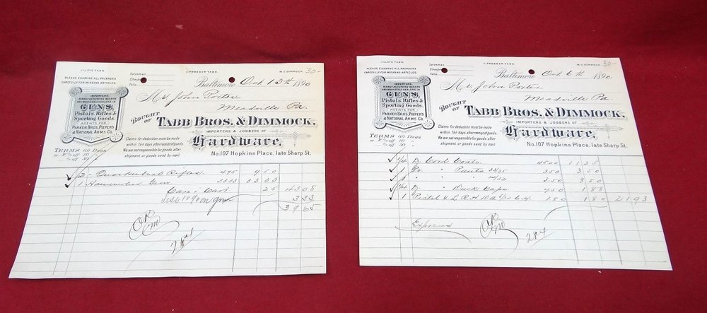 A Tabb Brothers & Gimmick invoice (eBay image)