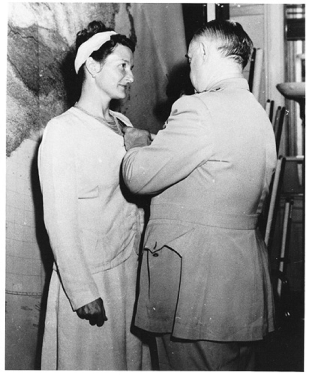 General William J. Donovan, Chief of the US Office of Strategic Services, awarded the Distinguished Service Cross to Virginia Hall on September 23, 1945. She declined a public event, preferring not to call attention to her war time identities. However, Hall's mother did attend. (Public domain photo)