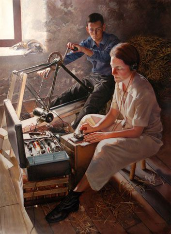This painting by  Jeff Bass  that recalls Virginia's days as a radio operator in France, hangs in the CIA Headquarters' Fine Arts Collection.