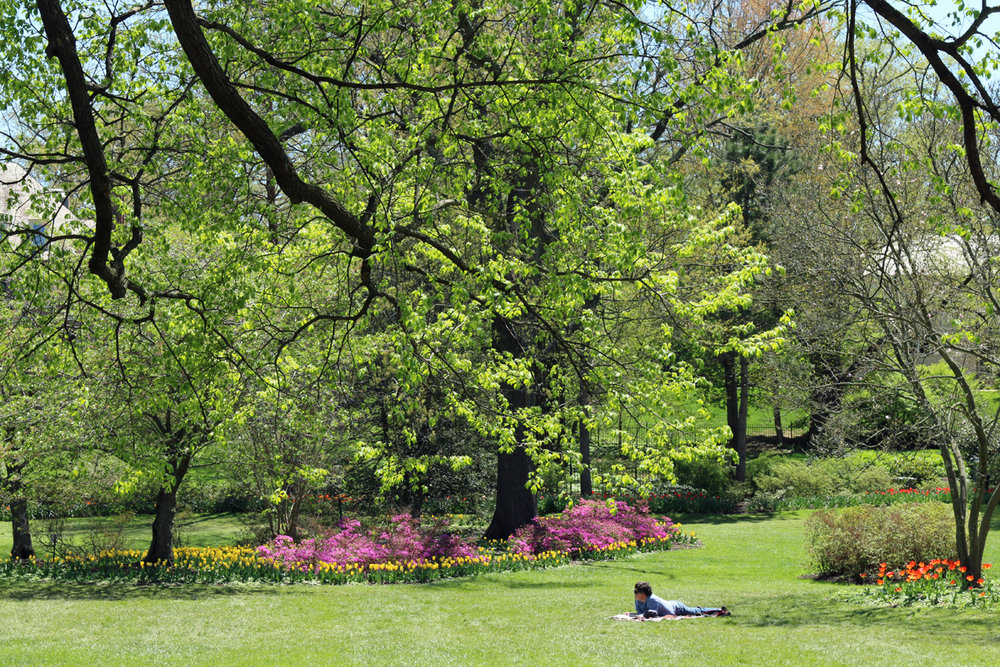 A couple lounges on the grass during springtime at Sherwood Gardens in Baltimore