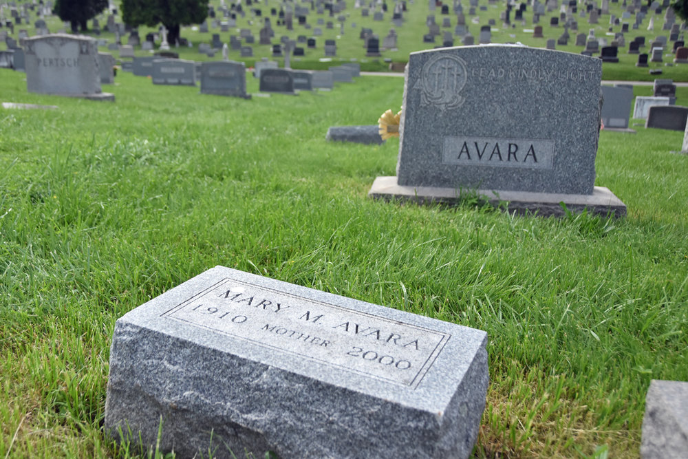 The gravesite of Mary Avara in Baltimore's New Cathedral Cemetery