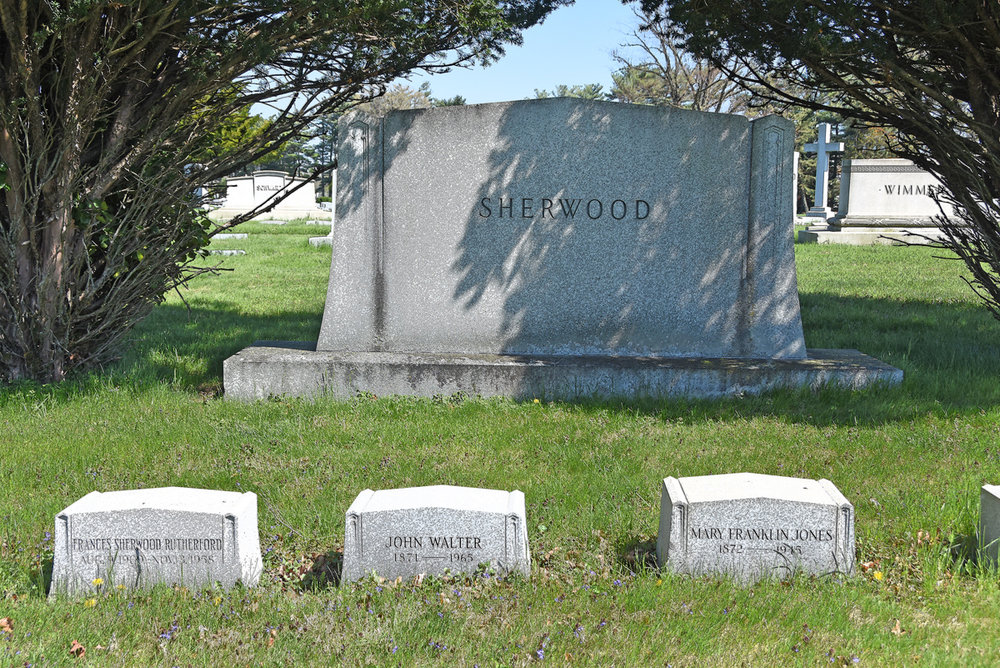 John Sherwood rests in Druid Ridge Cemetery with his wife, Mary Franklin Jones, and daughter Frances Sherwood Rutherford.