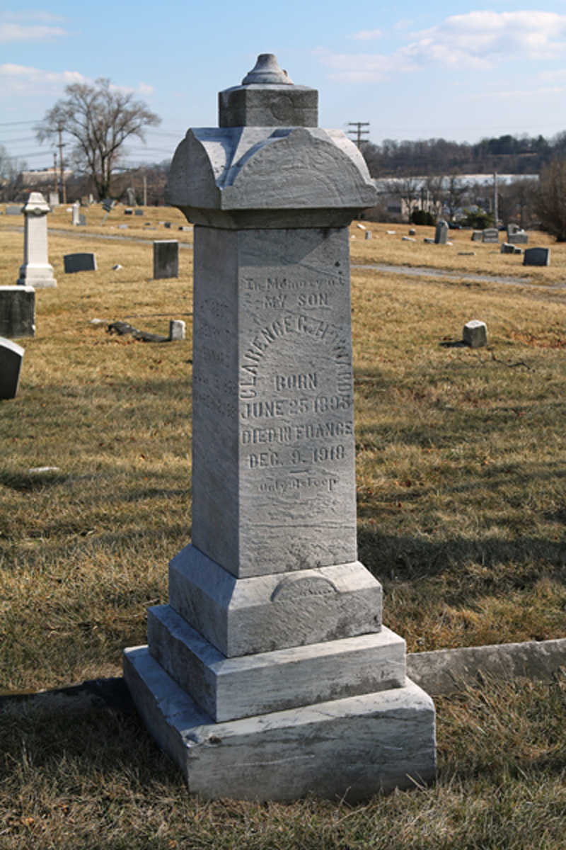 Clarence Howard is buried in Mt. Auburn Cemetery, a historic African American cemetery. The cemetery overlooks Middle Branch of the Patapsco River as well as Baltimore's downtown.