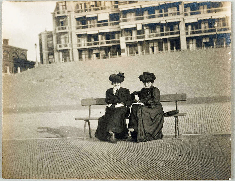 The Cone sisters on the beach at Scheveningen, Holland, circa August 27 - 30, 1903. Claribel and Etta Cone Papers, Archives and Manuscript Collections, The Baltimore Museum of Art. CG.11