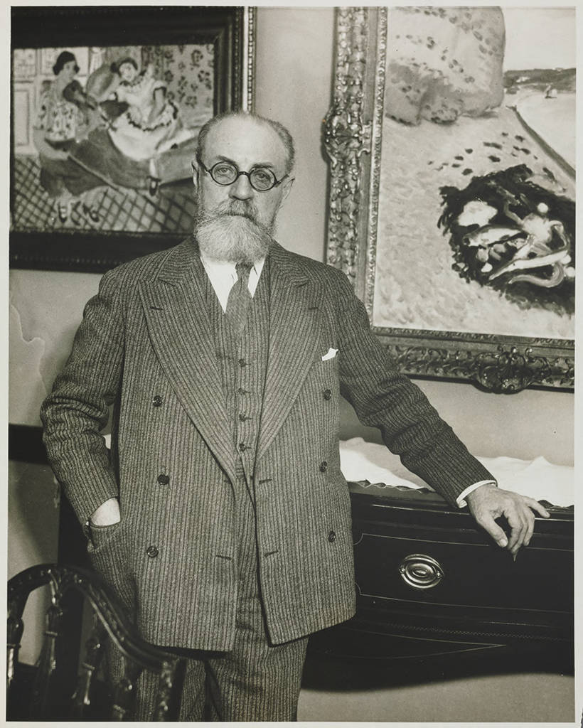 Over the years, Etta and Claribel built an especially strong friendship with Henri Matisse. He visited Etta in 1930 at her home. Claribel had died the previous year.   Henri Matisse in the dining room of Etta Cone's apartment at the Marlborough Apartments Baltimore, Maryland, December 19, 1930. Claribel and Etta Cone Papers, Archives and Manuscript Collections, The Baltimore Museum of Art. CP29.2.2