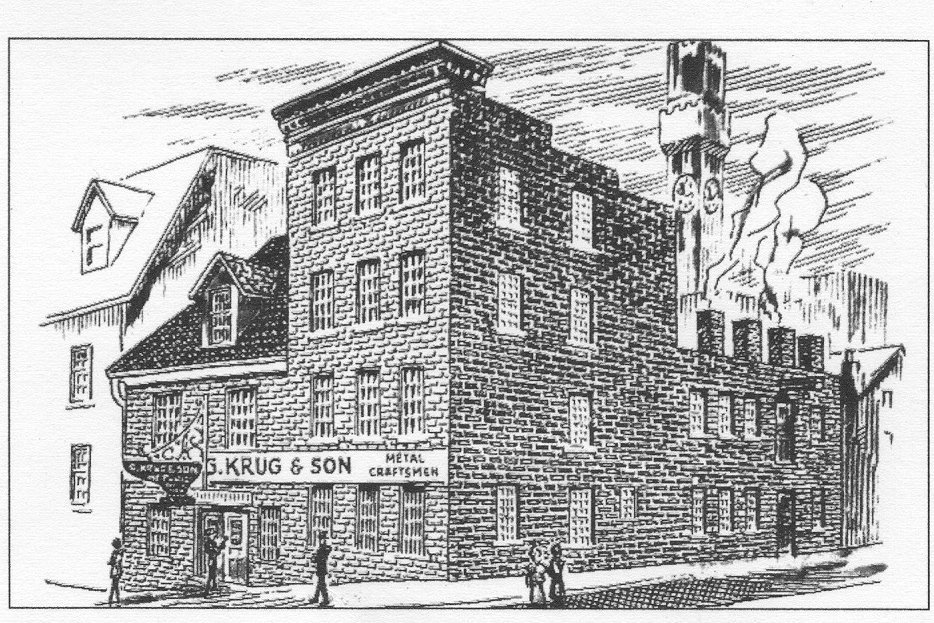 The exterior of G. Krug and Son is largely unchanged today, though the city has grown up around it. Note the Bromo-Seltzer tower in the background of this drawing.
