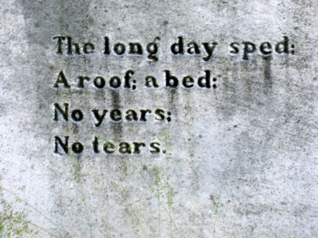 Epitaph on the back of Lizette Woodward Reese's gravestone at St. John's Episcopal Church in Waverly.