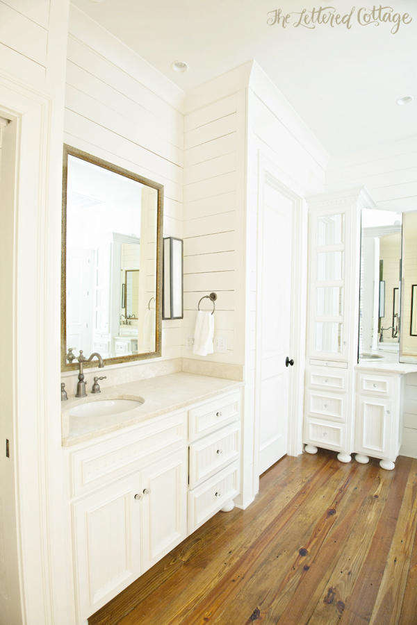 Traditional-Bathroom-White-Cabinetry-Wood-Wall-The-Lettered-Cottage