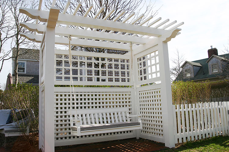 White Pergola with Swing