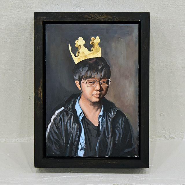 "'You could at least offer me an Oreo' ; Dylan Evans Weiler ; oil and gold leaf on aluminum ; 8.25"" x 12""⠀ .⠀ .⠀ .⠀ .⠀ .⠀ .⠀ .⠀ .⠀ .⠀ .⠀ .⠀ @dylanevansweiler #dylanevansweiler⠀ .⠀ #artforsale #instaart #hereweare #gallery #oiloncanvas #yooperart #figurativeart #collector #exhibit #traversecity #fineart #collector #exhibit #traversecity #fineart #interiordesign #painting #artist #contemporaryart #artdealer #creative #artwork #eccoeventspace #finladiauniversity #FU #interlochenartsacademy #interlochencenterforthearts"