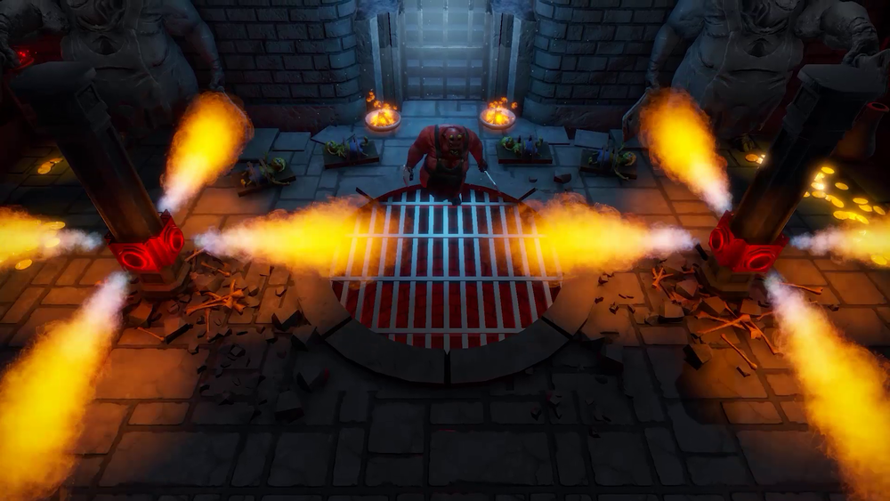 You'll face many hazards in the dungeons, including these flamethrowers.