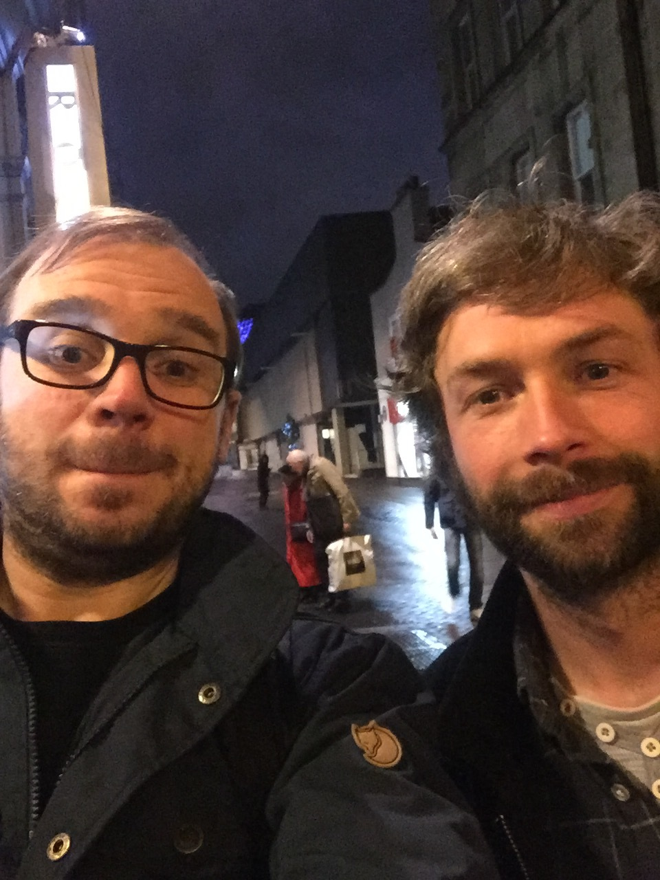 Ben wandering the streets of Edinburgh with the authority on guitar pedals Mike Livesley (AKA Made By Mike)